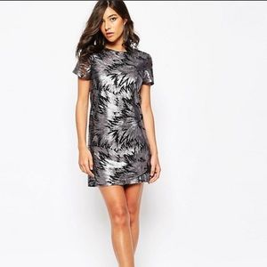 ASOS Warehouse Black/Silver Sequin Shift Dress 6
